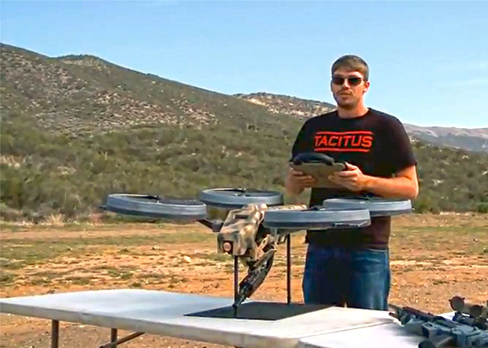 prototype quadrotor with machine gun