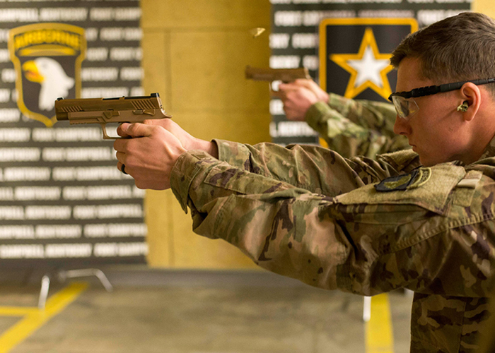 101 Airborne Test Firing the M17 & M18 Pistols