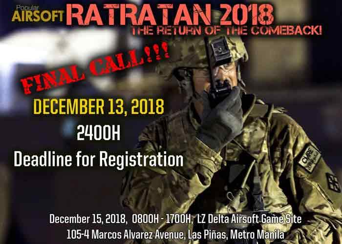 Ratratan 2018 Reg Final Call