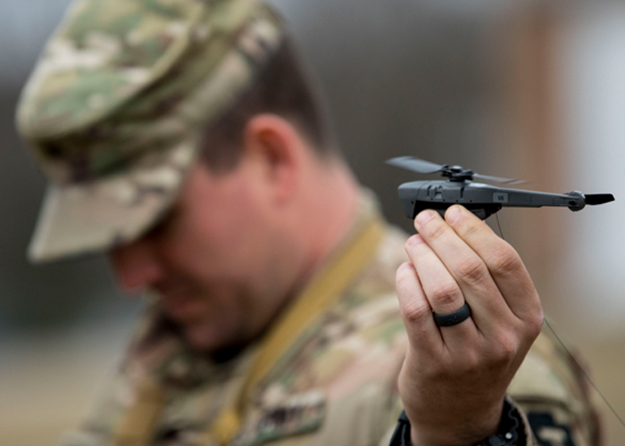 U.S. Soldier With Black Hornet III Drone