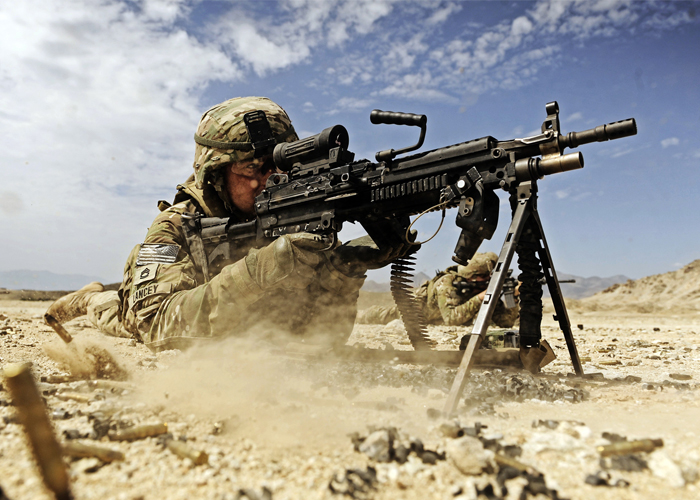 U.S. Army Soldier With the M249