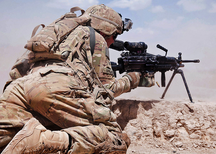 U.S. Army Soldier with M249 in Afghanistan
