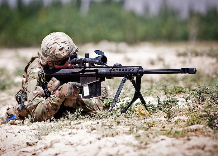 U.S. Paratrooper With Barrett Sniper Rifle