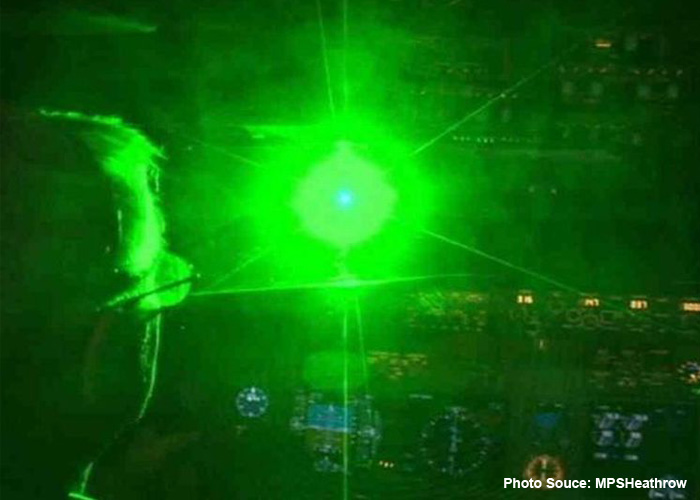 Laser Shone At Pilot (Stock Photo by MPSHeathrow