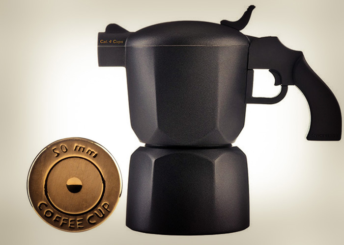 Noir Pistol Coffee Maker & Bullet Coffee Cup