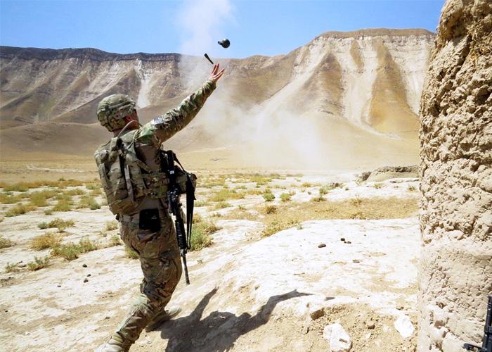 M67 Grenade Throw By U.S. Soldier In Afghanistan