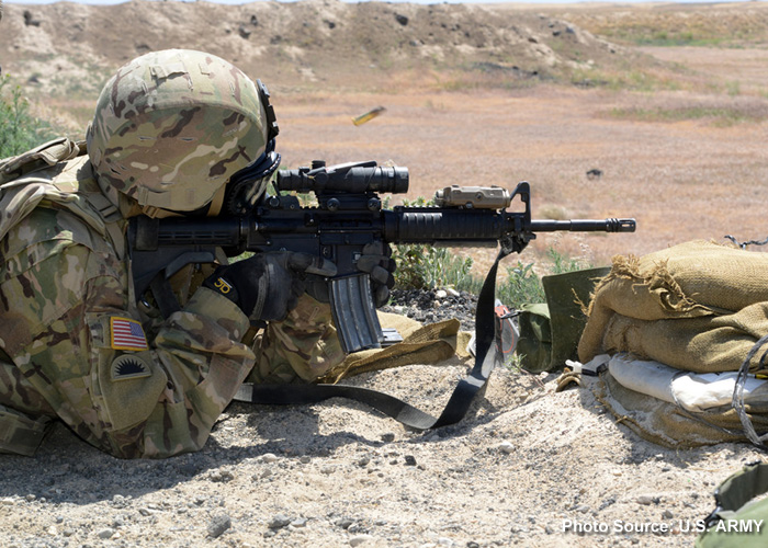 U.S. Army Soldier Firing An M4 Rifle
