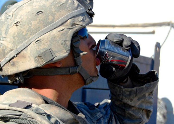 Soldier Drinking Rip It Energy Drink (U.S. Army Photo)