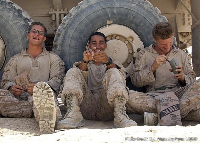U.S. Marines with MREs