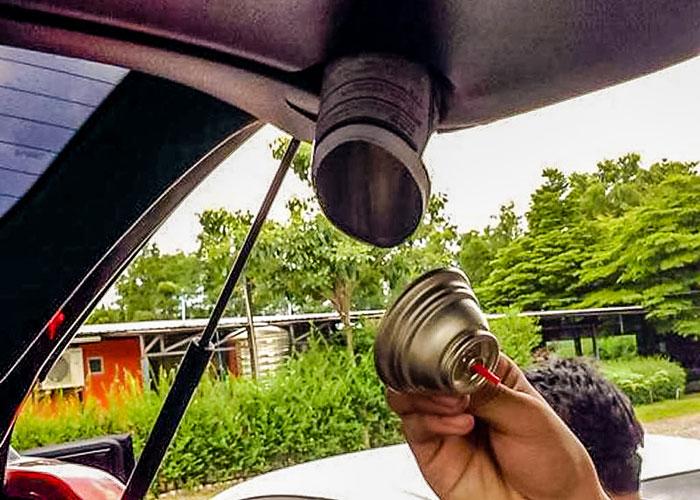 Gas Can Explosioin Inside Car