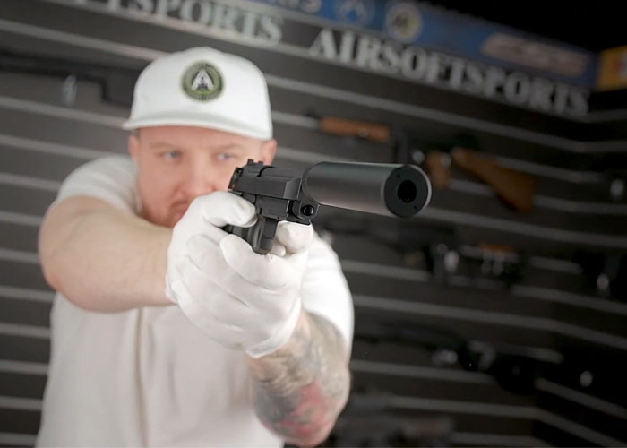Airsoft Sports: KJW M9A1 With Silencer