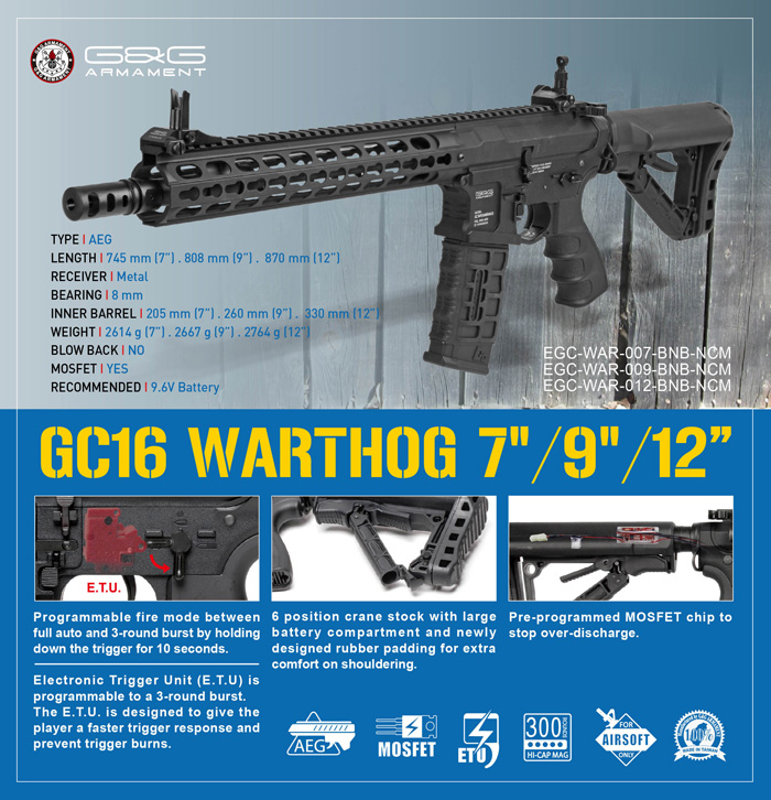 G/&G Combat Machine GC16 Warthog 12 Full Metal AEG